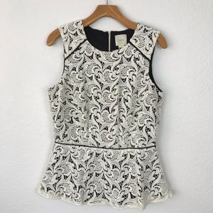 Anthropologie Maeve Scrolling Lace Peplum Top